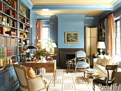 Gorgeous library in the home of designer Garrow Kedigian's Manhattan apartment. Custom blue is a Fine Paints of Europe Brilliant finish.