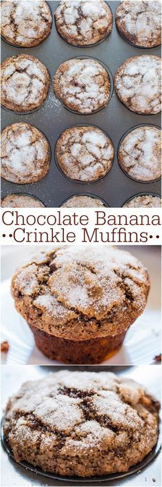 Chocolate Banana Crinkle Muffins - Have ripe bananas to use? Make these easy, no mixer chocolate beauties!