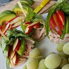 Apple Avocado Turkey Wraps With Apple Slices, Avocado, Sliced Turkey, Lettuce Leaves Whole 30 Recipes, Clean Eating Recipes, Whole Food Recipes, Eating Clean, Healthy Snacks, Healthy Eating, Healthy Recipes, Healthy Options, Kid Snacks