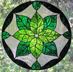 Stained Glass Green Leaves Round Suncatcher by LivingGlassArt