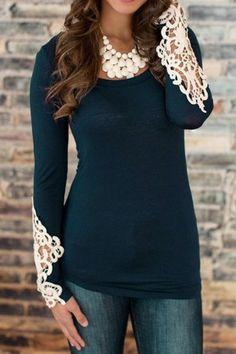 Stylish Scoop Neck Long Sleeve Lace Embellished T-Shirt For Women