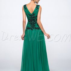 Custom made green v neck evening dresses backless prom dresses applique beaded long party dress bridal gown of mother plus size maxi dresses