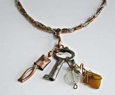 Vintage Key Necklace with Copper and Glass Charms by Serendipitini, $15.00