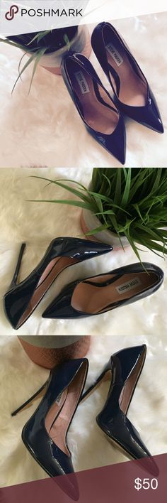 "Steve Madden Wicket Patent Dark Blue Leather Pumps Only worn once and in near perfect condition!!! Steve Madden patent court shoes Slip on Pointed toe, sexy stiletto heel Synthetic upper, synthetic lining, synthetic sole Heel height 4.5"" Steve Madden Shoes Heels"