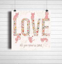 Poster gatinhos Love-Cats amo gatos fofo cute / Top Quadros