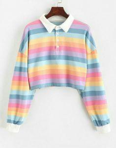 Rainbow Crop Top Long Sleeve · Triple L · Online Store Powered by Storenvy Pull Kawaii, Mode Kawaii, Kawaii Style, Crop Top Hoodie, Pullover Outfit, Tokyo Street Fashion, Grunge Look, Grunge Style, Soft Grunge