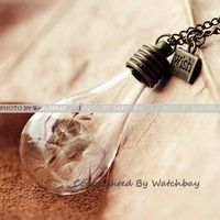 Nature Inspired Jewelry Real Dandelion Necklace Pendant Gift (WHM0064)