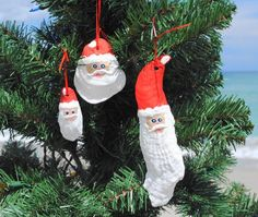 Hand Painted Oyster Shell Santa Ornaments, Set of 3