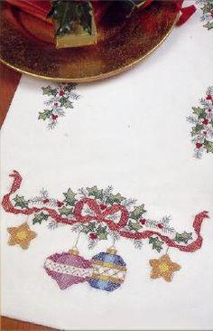 Bucilla Stamped Cross Stitch Christmas Baubles Tablerunner