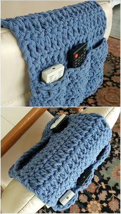 I crocheted a remote control organizer for Hubs using dc & Bernat Blanket yarn. He thinks I'm a genius.