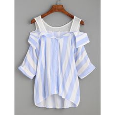 Blue Vertical Striped Button Front Cold Shoulder Blouse (€19) ❤ liked on Polyvore featuring tops, blouses, blue, button front top, open shoulder top, button blouse, embellished blouse and embellished collar blouse