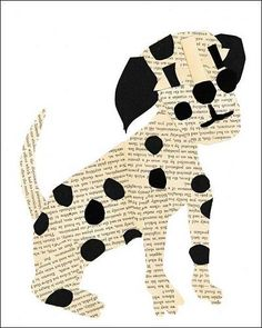 It takes talent to inject personality into scraps of of paper! A variety of vintage printed pages are fair game for Denise's collages of dogs and other animals, as well as people. She accepts orders for custom designs if you have a special idea in mind.