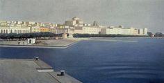 Italia. Francesco Trombadori: La Marina di Siracusa. Olio su tela del 1954. Dimensioni e locazione sconosciute. E' stato definito il suo capolavoro: amava tanto la sua città d'origine e la sua isola, ci tornava appena poteva e l'ha dipinta sempre, durante la sua vita.