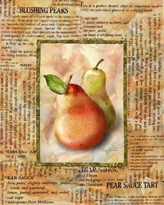 Art Print: Blushing Pears by Abby White : - New Site Decoupage Vintage, Decoupage Paper, Vintage Paper, Veggie Images, Apple Pear, Kitchen Art, Kitchen Images, Fruits And Veggies, Vegetables