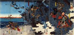 Yoshitsune, Shigetada, Benkei watching Kumagai and Atsumori duel.