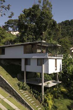 Village House Design, Village Houses, Architecture Drawing Plan, Architecture Design, House On Stilts, Pavilion Design, Home Stairs Design, Hillside House, Farm Stay