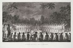 "Drawing by John Webberfrom, Engraved by William Sharp - A Night Dance by Men, in Hapaee, Tonga, (From ""The Voyages of Captain Cook"", 1776-1780"