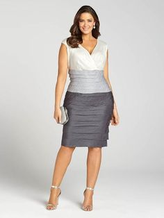 Laura Plus | Satin Tuck Detail Sheath Dress - Grey Pattern