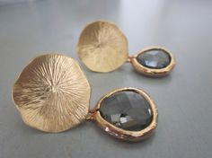 $30 Charcoal Gray Earrings Gold Mushroom Coral Sterling Silver Post