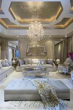 Luxury interior - love the gold tray ceiling!