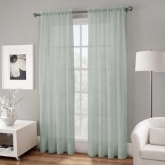 Crushed Voile Sheer  144-Inch Rod Pocket Window Curtain Panel in Spa Blue