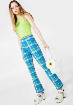 dELiA*s by Dolls Kill IRL Queen Plaid Pants cuz youre about to blow their mind boo. Represent for all the virtual cuties in these adorbz plaid pants that have a high-rise flared fit N are supa stretchy. Early 2000s Fashion, 90s Fashion, Girl Fashion, Planet Fashion, Checker Pants, Girl Outfits, Cute Outfits, Trendy Outfits, Dressed To The Nines