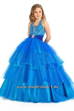Weite Abendkleid Ballkleid für Mädchen Blaues Blumenmädchenkleid  www.modeshop-1.de