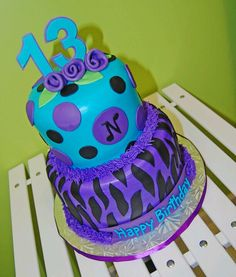 Purple blue bday cake