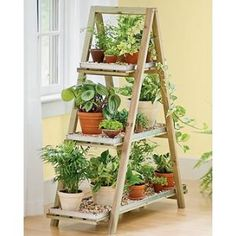 This plant rack folds up so you can keep your plants warm in the winter and store it flat in the summer to save space.