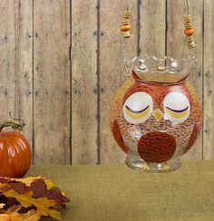 Glass Owl Lantern -- Make a glass owl lantern from an ivy bowl.