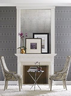 by York Designer Seriers featured in Candice Olson Modern Artisan from York, Contemporary Living Rooms Room Set Photos Charcoal Wallpaper, Grey Wallpaper, Glitter Wallpaper, Textured Wallpaper, Pattern Wallpaper, Contemporary Home Decor, Modern Interior Design, Interior Ideas, Interior Inspiration