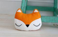 Fox Pillow - Woodland Plush Felt Stuffed Decoration - Childs Nursery Decor - Orange Fox Decor - What Does the Fox Say