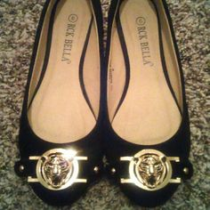 Flats Black Flats Tiger face on Front in Gold Shoes Flats & Loafers