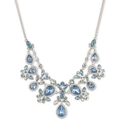 Givenchy Blue Silver-Tone And Sapphire Statement Necklace ($195) ❤ liked on Polyvore featuring jewelry, necklaces, blue, silvertone necklace, givenchy, sparkly statement necklace, bib statement necklace and givenchy jewelry