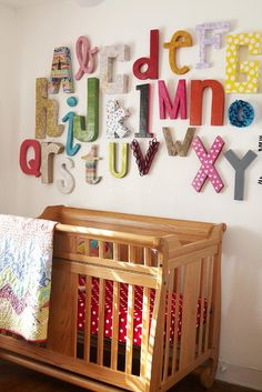 A Wall Alphabet for the nursary!  Why not use your crafty skills to help your child become familiar with their letters?