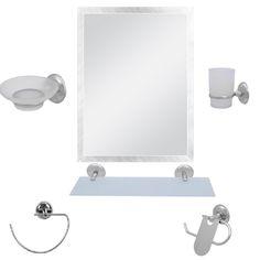 Alper 6 Parça Krom Banyo Ayna Seti- Bayrak Modeli | www.enterlagelsin.com