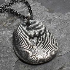 Fingerprint Necklace - Fine Silver Print Charm with Heart in Middle on Sterling Silver Rollo Chain