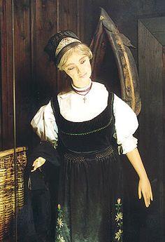 Schwarzwälder Trachten  im Schwarzwälder Trachtenmuseum Haslach  Trachten aus Einbach  Mieder mit weißer Leinenbluse, dazu eine Bodenhaube m... Einbach