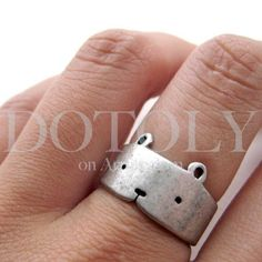 Simple Teddy Bear Animal Ring in Silver - Sizes 5 to 9 Available | dotoly - Jewelry on ArtFire