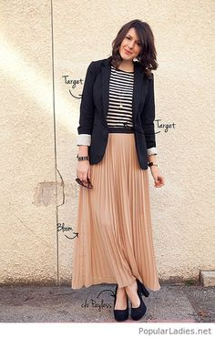 Long nude skirt, tee and blazer