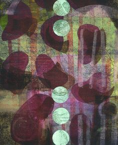 Michèle Brown Artist - The Old Cells Studio: Descending Green - Monoprint, painting and collage...