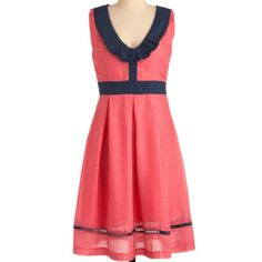 Cute casual coral & navy blue dress - http://www.modcloth.com/shop/dresses/queen-of-the-kitchen-dress