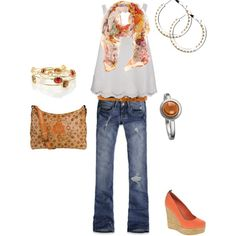 The top and the jeans:)  No wedges for me, all though they are cute, I would break my ankle.