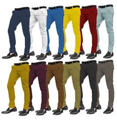 Mens Designer Trousers Chinos Stretch Skinny Slim Fit Jeans All Waist Sizes #CDCH501