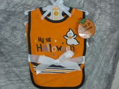 Halloween Baby Bibs Pack Of 3 My 1st Halloween Ghost Embroidered Stripe & Solid #BabyGear