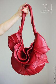 """Купить сумка кожаная """"Орхидея"""" красная - ярко-красный, однотонный, Красивая сумка, дизайнерская сумка"""