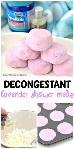 Make homemade decongestant lavender vicks shower melts to help with sinuses, colds, stuffy noses, and more! DIY for cheap. Great for kids