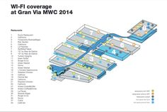 Mobile World Congress 2014 - Want to know where you'll be able to find wi-fi at Check outthis map of wi-fi coverage at the event for your information! Via GSMA Wi Fi, Mobile World Congress, Events, Map, Check, Location Map, Maps