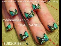 Nail Art Tutorial   DIY Easy Blue Nail Art   Turquoise Sands Nail Design - YouTube