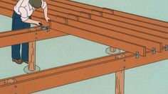 Foundation For Tiny House Attaching The Floor Joists Small Foundation House Plans Building A Tiny House, Tiny House Cabin, Building A Shed, Tiny House Living, Tiny House Plans, Tiny House Design, Building Plans, Hot Tub Pergola, Pergola Shade